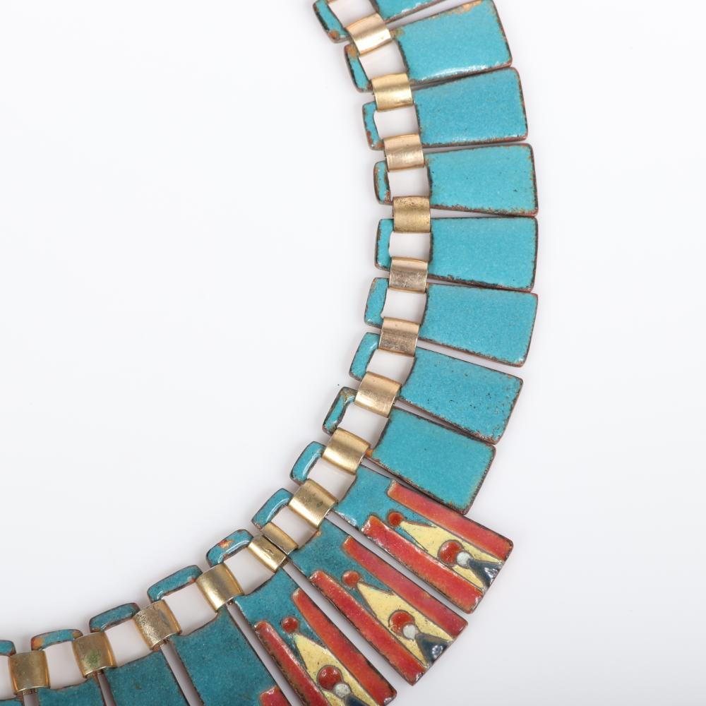 """Mildred Ball American Modernist enamel Egyptian collar choker necklace with turquoise, rust and yellow enamel linked wedges. 15""""L, 1 1/2L,""""drop"""