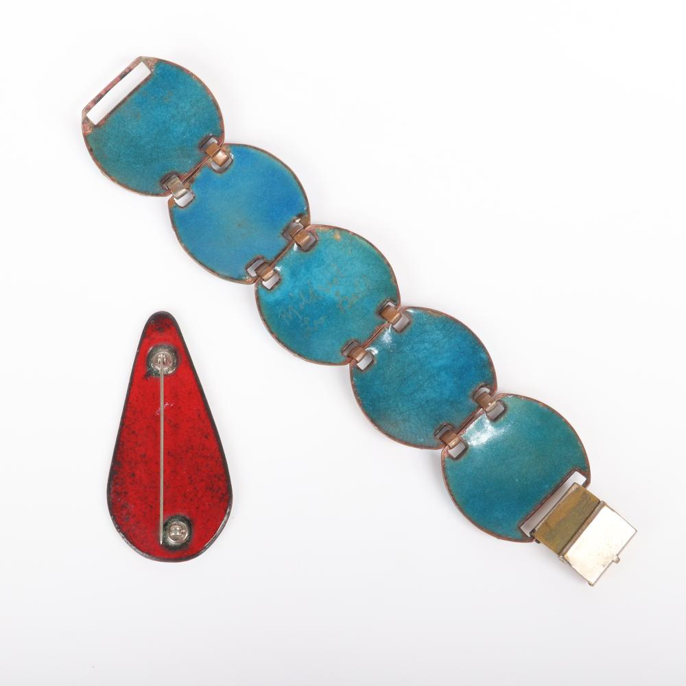 """Mildred Ball American Modernist enamel bracelet with five round linked swirl panels in blues and rust and coordinating abstract red, white and blue pin. 7 1/4""""L x 1 1/2""""W (bracelet)"""