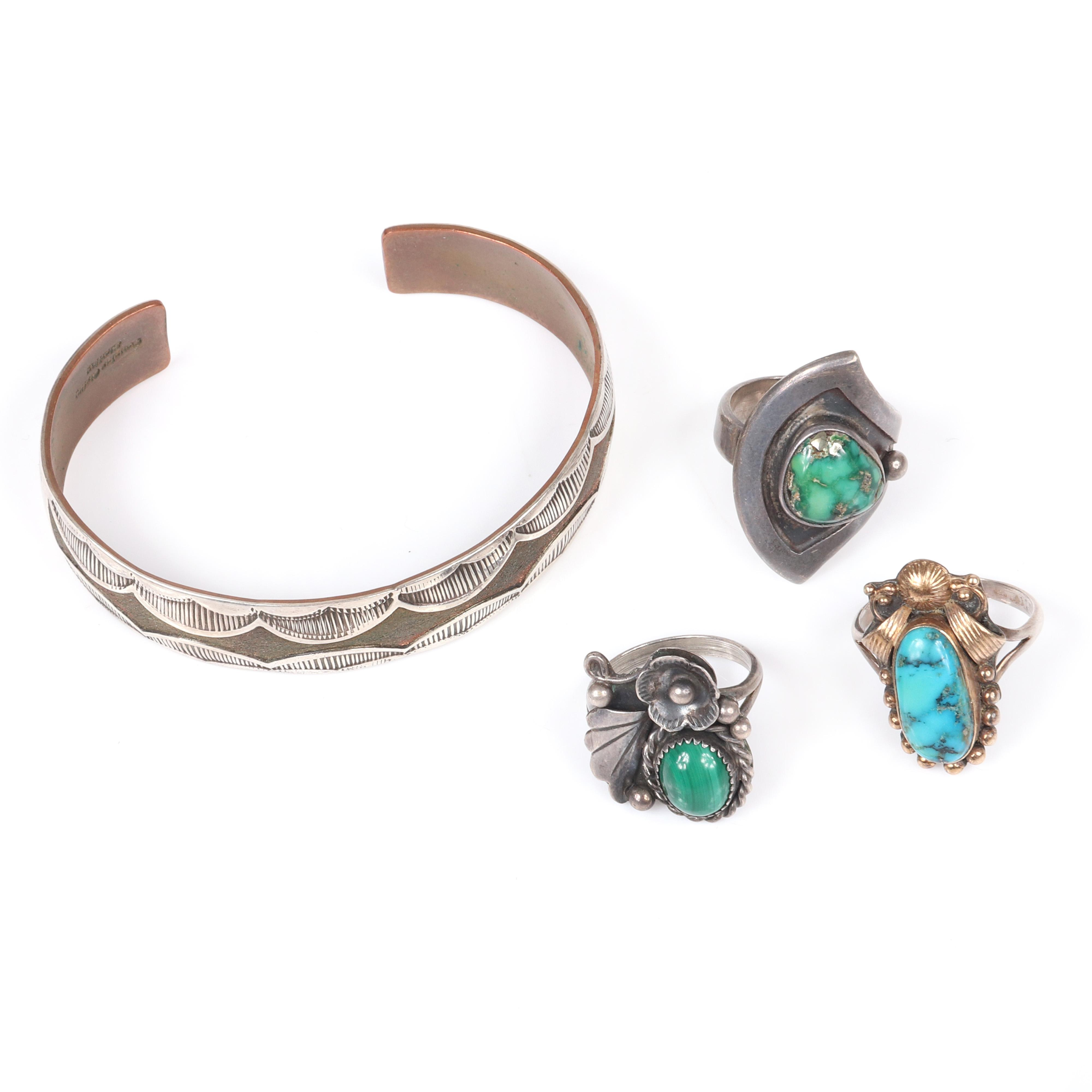 """Douglas Etsitty Navajo sterling cuff bracelet with two sterling and turquoise rings and one sterling and malachite ring. 2 1/4"""" inner width (bracelet)"""