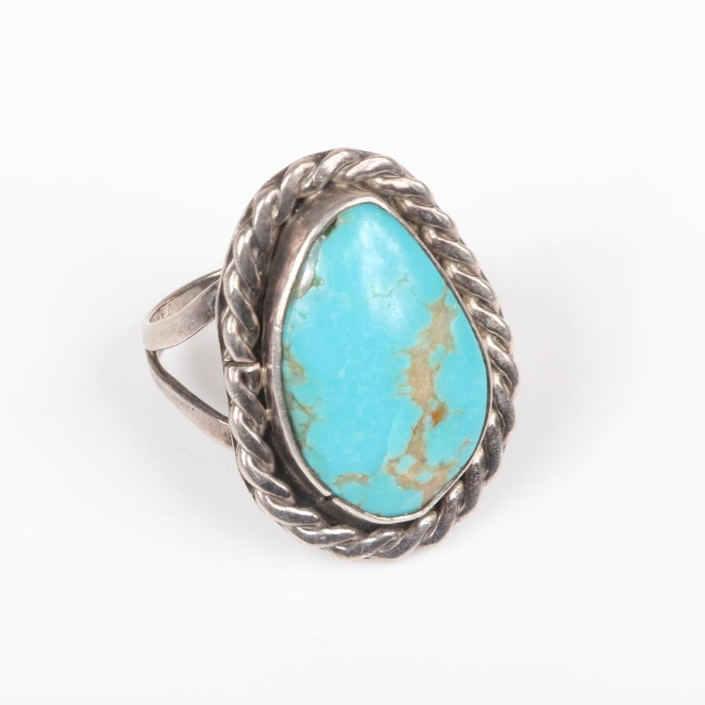 """Native American Indian sterling and turquoise group: cuff bracelet with five nuggets, cuff bracelet with crossed arrows and central stone and ring with rope detail. 2 1/4"""" inner width (bracelets)"""