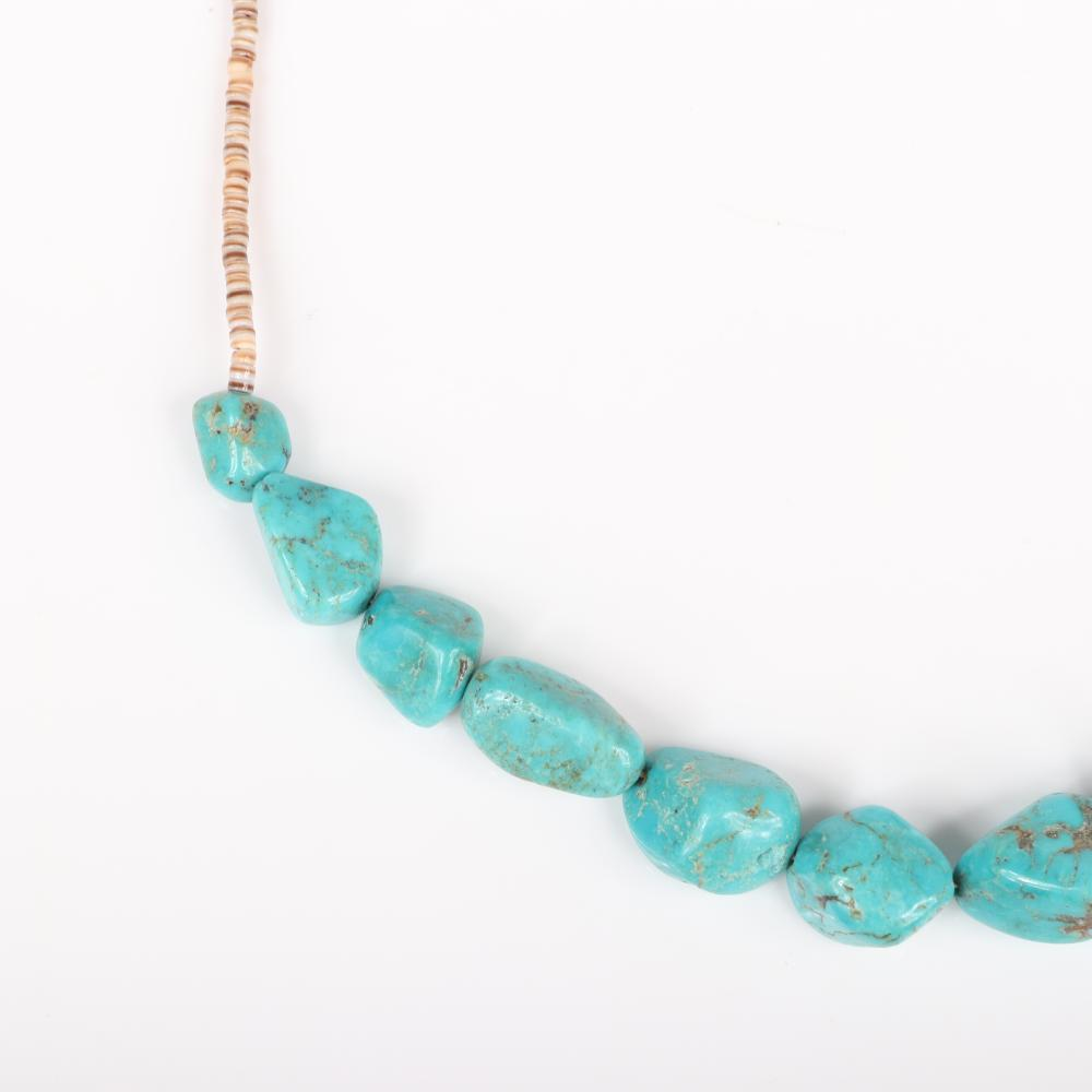 Ronnie Hurlie Navajo Native American Indian sterling and turquoise ring with heishi bead and turquoise nugget choker necklace. 6 1/4 ring size