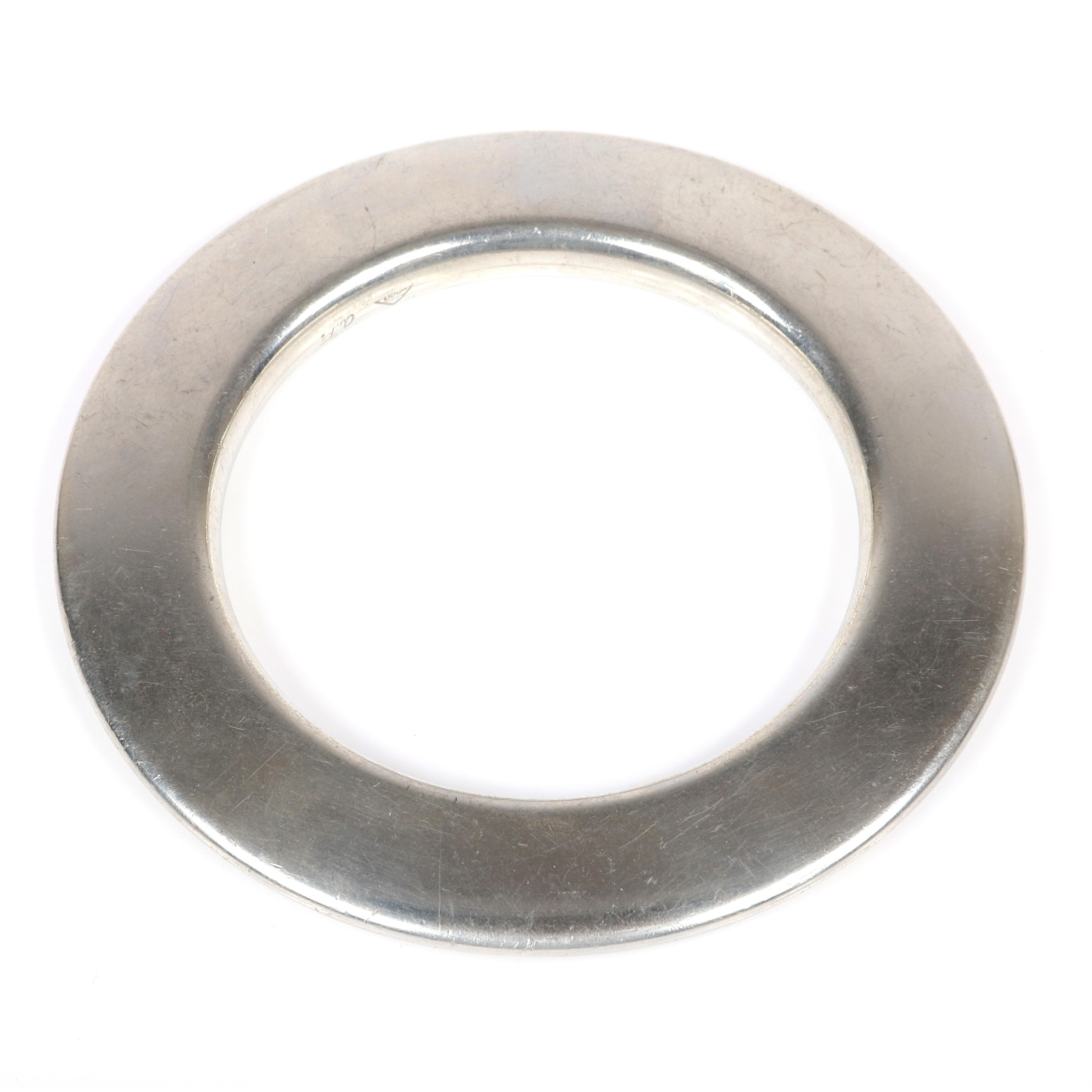 """Just Andersen Denmark Modernist solid sterling silver Danish modern bangle bracelet. 2 1/2""""inner diam, 3/4""""D"""