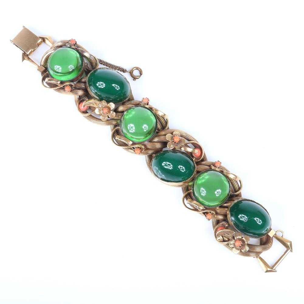 "Vintage 1930s brass link bracelet with green glass cabochons and brass floral details with coral Czech glass bead centers 7 3/4""L"