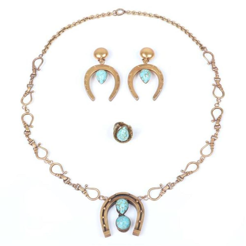 """Joseff of Hollywood horseshoe and faux turquoise Czech glass cabochon 3pc set; heavy necklace with buckle chain and matching earrings and adjustable ring. 30"""" L necklace, 3""""L earrings"""