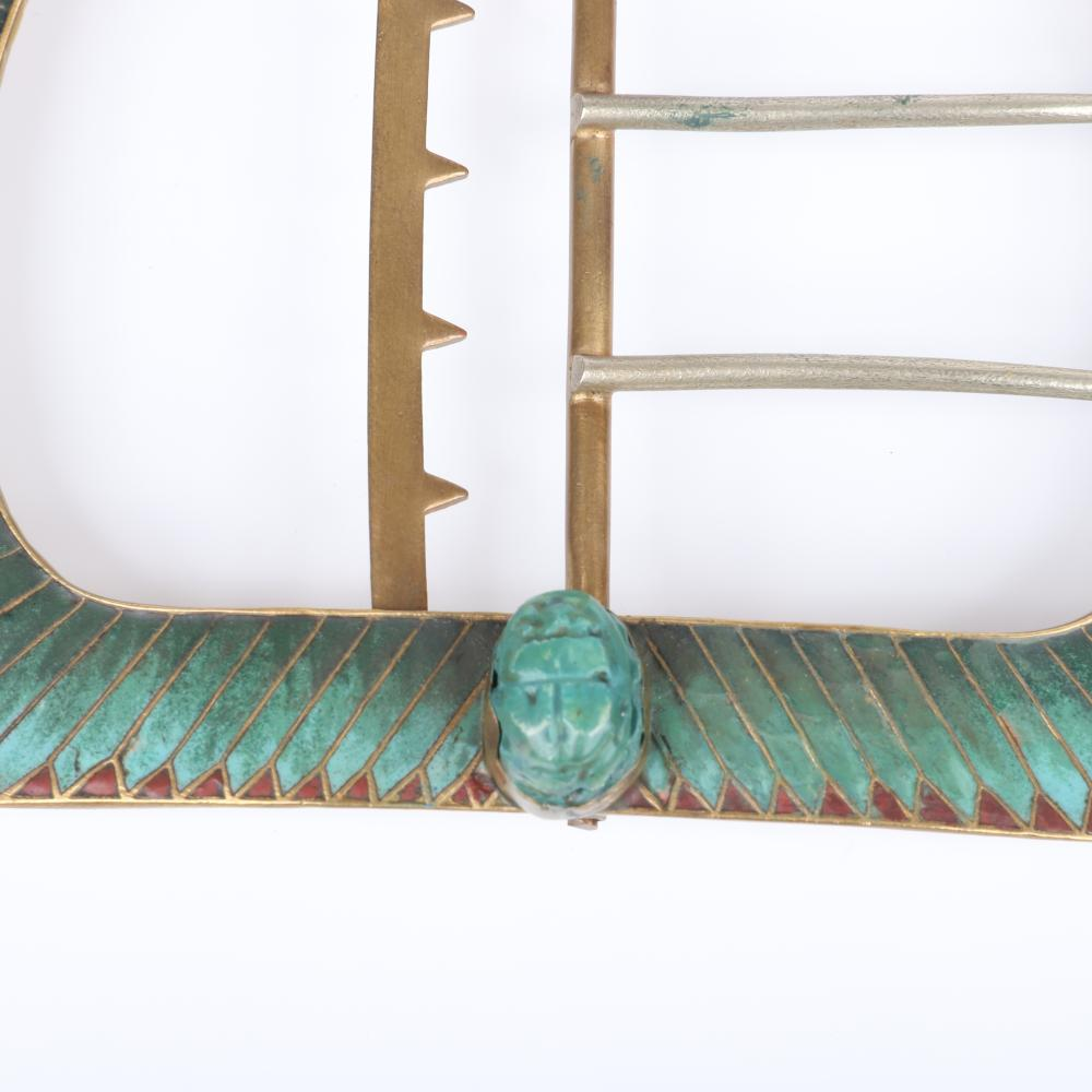"""Antique 19th Century Egyptian Revival HUGE bronze belt buckle with two faience scarabs, inlaid turquoise ombre cloisonne enamal rays, ormolu lotus flower details. 3 3/4""""H x 5 1/4""""W"""