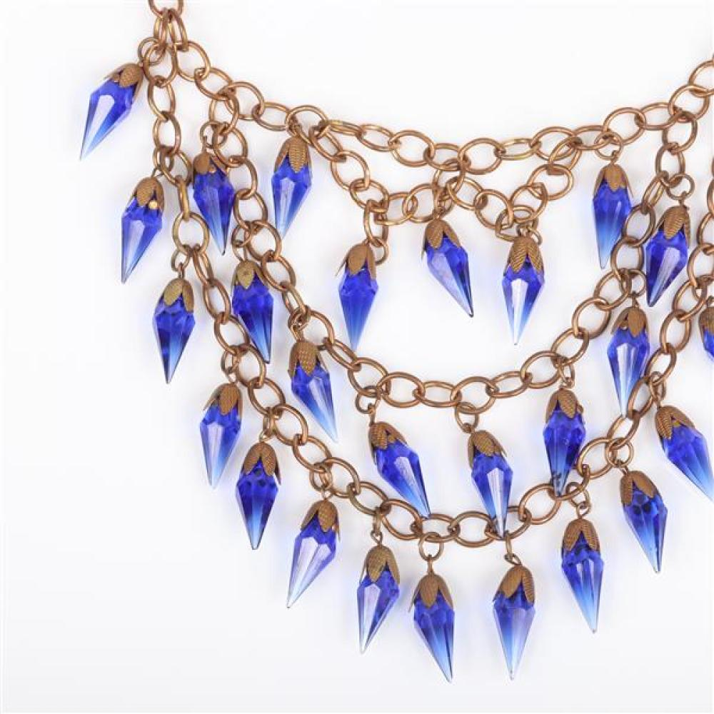 Czech Art Deco large brass link triple stand bib necklace with dangling blue crystal icicle prism beads.