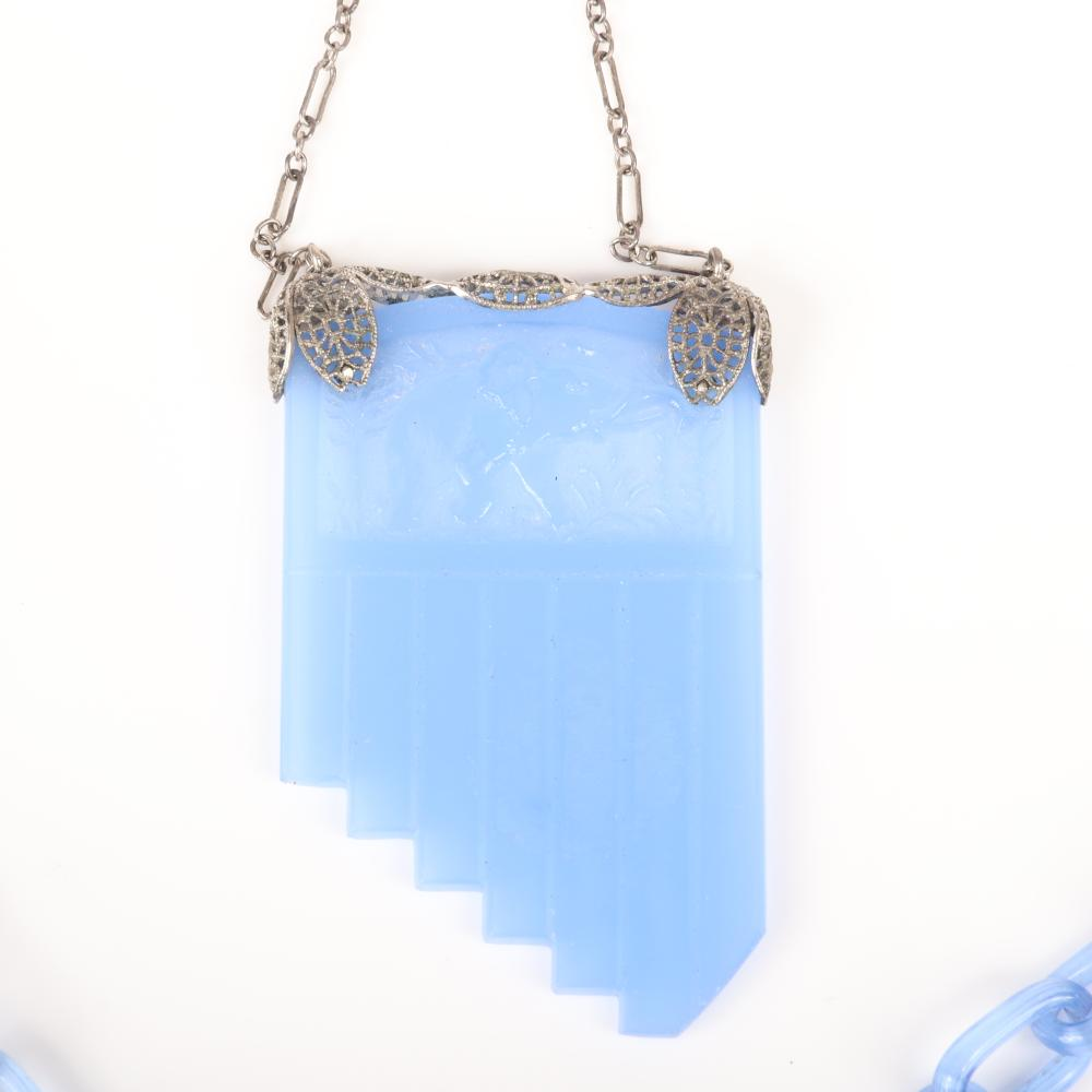 """Czech Art Deco double chain Flapper style necklace with pale blue and sterling silver chains and filigree mounted blue intaglio molded glass pendant with elephant motif. 20""""L"""