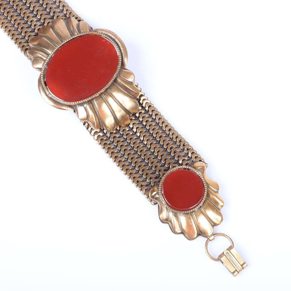 "Antique Edwardian gilt brass chain mesh choker necklace and bracelet set with inset oval and round carnelian crystal stones. 16""L (necklace), 7 1/4'L (bracelet)"