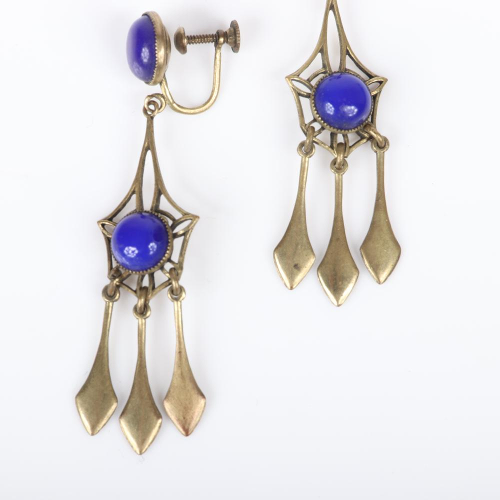 """Art Nouveau / Edwardian gold chandelier earrings with two sapphire blue glass cabochons and three dangles. 2""""L"""