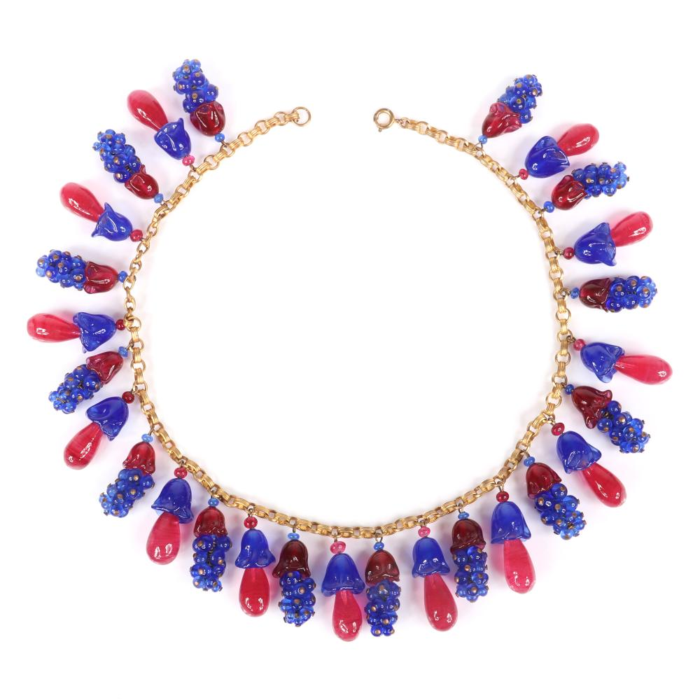"""French Gripoix poured glass choker necklace with dangling blue glass bead clusters and pink teardrops with blue and pink floral caps, ca.1930. 16""""L, 1 1/4""""drop"""