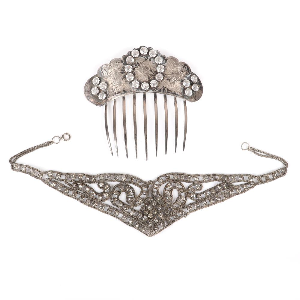 "Victorian sterling silver large scalloped hair comb with etched florals and large rhinestones with period openwork chain and rhinestone bib necklace. 4 1/2""H x 5""W (comb), 15""L, 2""drop (necklace)"