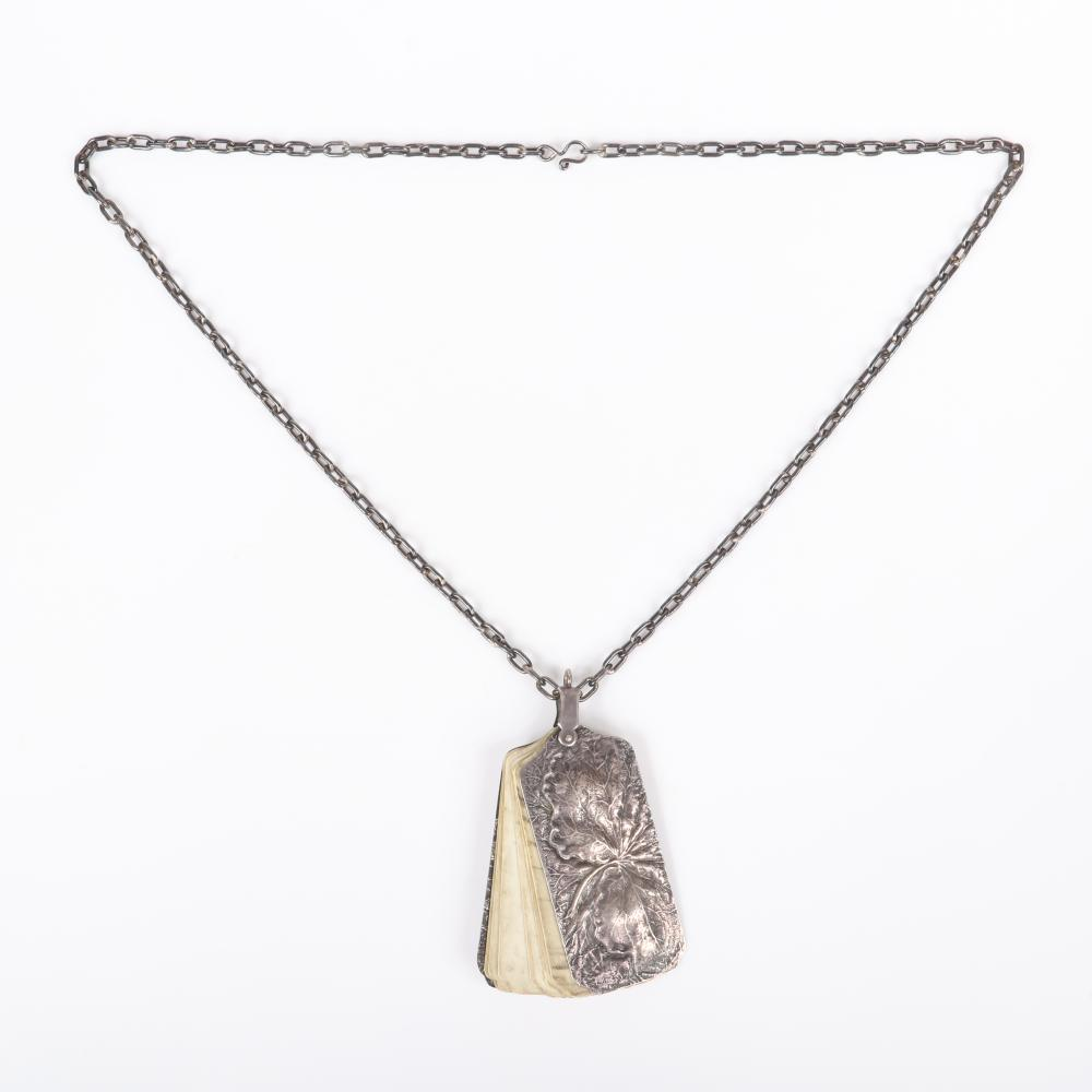 """Sterling silver Aesthetic Victorian vintage notebook planner chatelaine pendant on chain necklace with repousse frog and leaf motif pendant with fanning bone tablet stamped with days of the week. 27""""L (necklace), 3 1/..."""