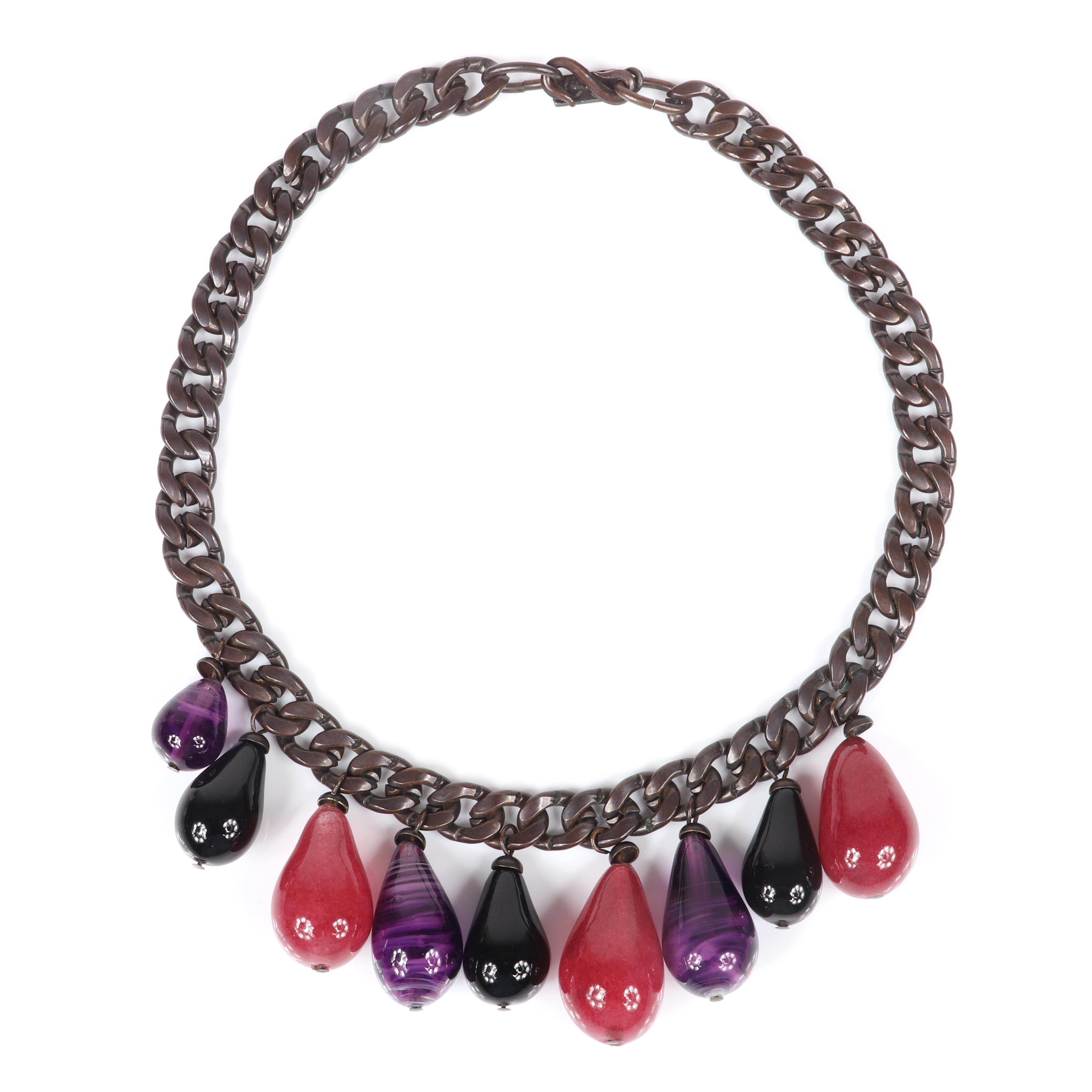 "Yves Saint Laurent YSL early designer couture chunky gunmetal flat chain collar necklace with nine poured gripoix? art glass teardrop dangles, cranberry, black, and variegated amethyst. 17""L, 1 3/4""drop"