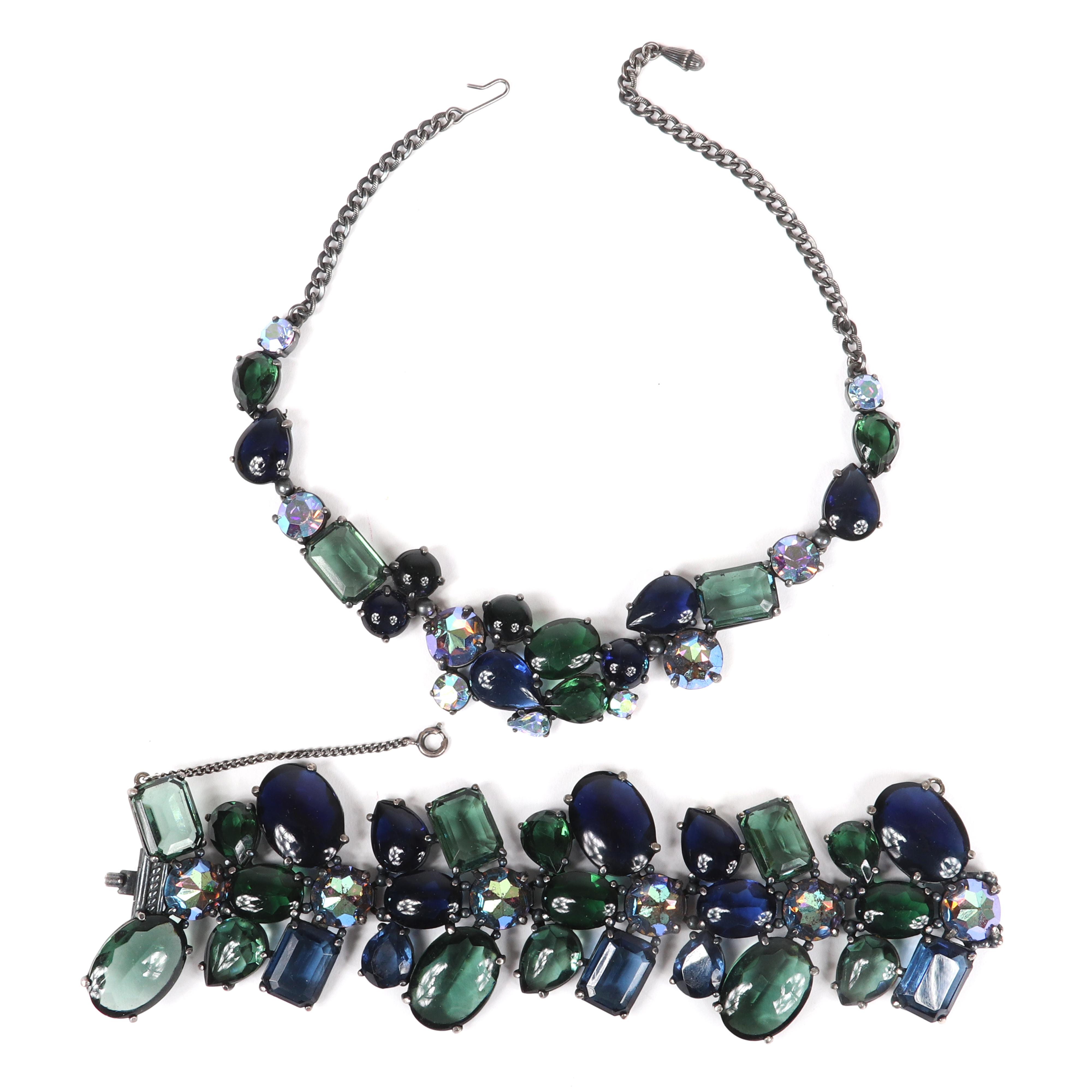 "Gorgeous Schiaparelli 2pc. deep cobalt blue / moss green demi parure; necklace and wide bracelet with glass cabochons and ab iridescent faceted jewels. 17""Long (necklace)"