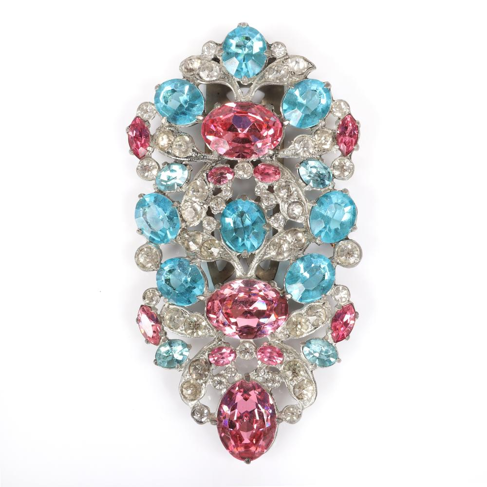 "Eisenberg Original Huge Fur Clip with Floral Vignettes Formed By Massive Pink And Aqua Crystal Stones Framed By Clear Rhinestones, 1940s, Silver Pot Metal. 4""H x 2""W"
