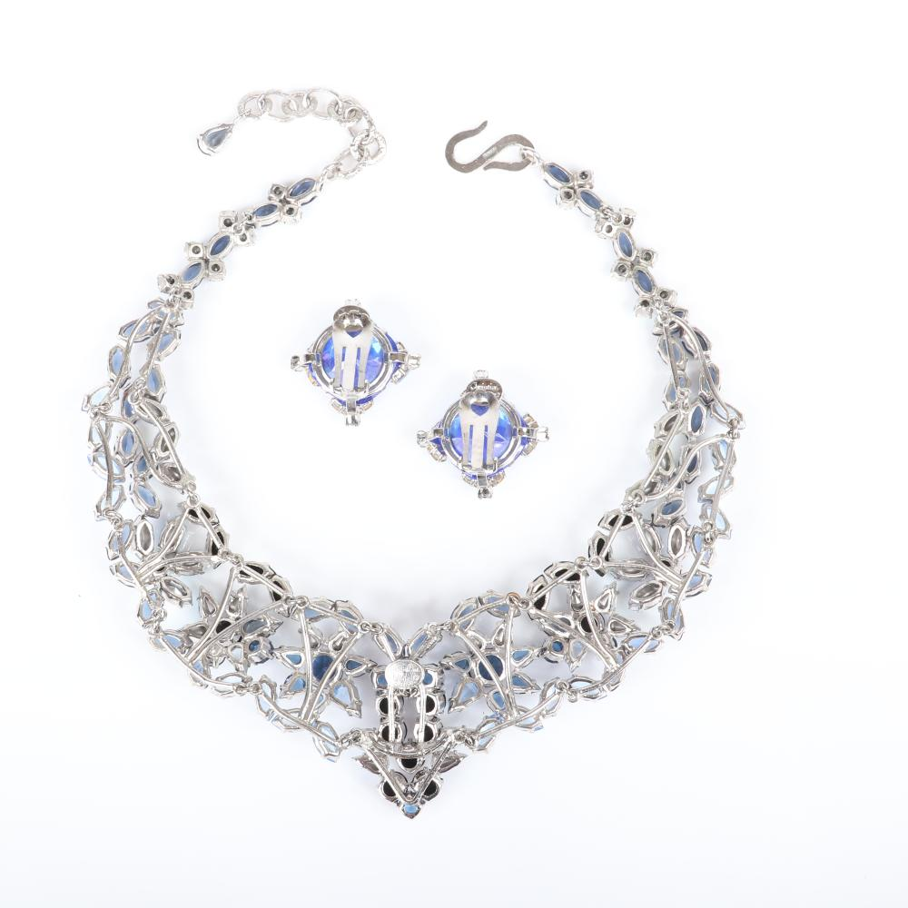 "Christian Dior shades of blue iridescent marquise and sapphire blue crystal diamante collar necklace and earrings with large central rhinestone; includes original branded pouch, box and tags. 16""L, 1 3/4""drop, 3/4""H x..."