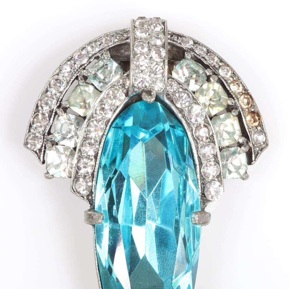 "Eisenberg Original fur clip with LARGE faceted aqua blue crystal jewel and diamante Art Deco flourishes. 2 1/2"" x 1 1/2"""