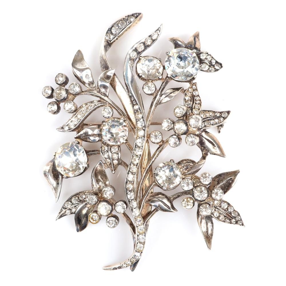 "Eisenberg Original sterling elaborate floral / tree brooch with large round rhinestones, pave and groupings of smaller bezel-set stones, mid-1940s. 3 1/2"" x 3"""