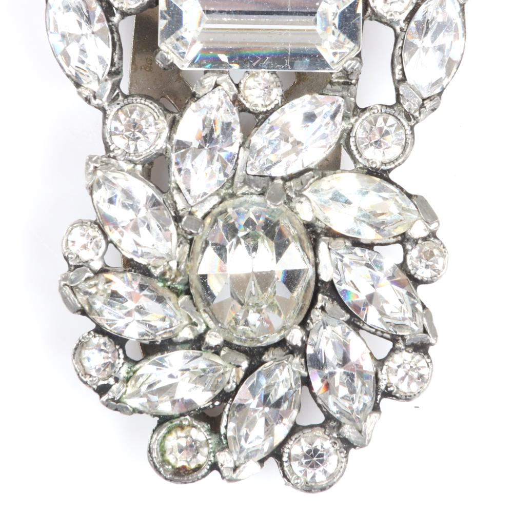 """Eisenberg Original diamante dress clip with large emerald-cut, oval and marquise rhinestones accented with bezel-sets. 2 1/8"""" x 1 1/8"""""""
