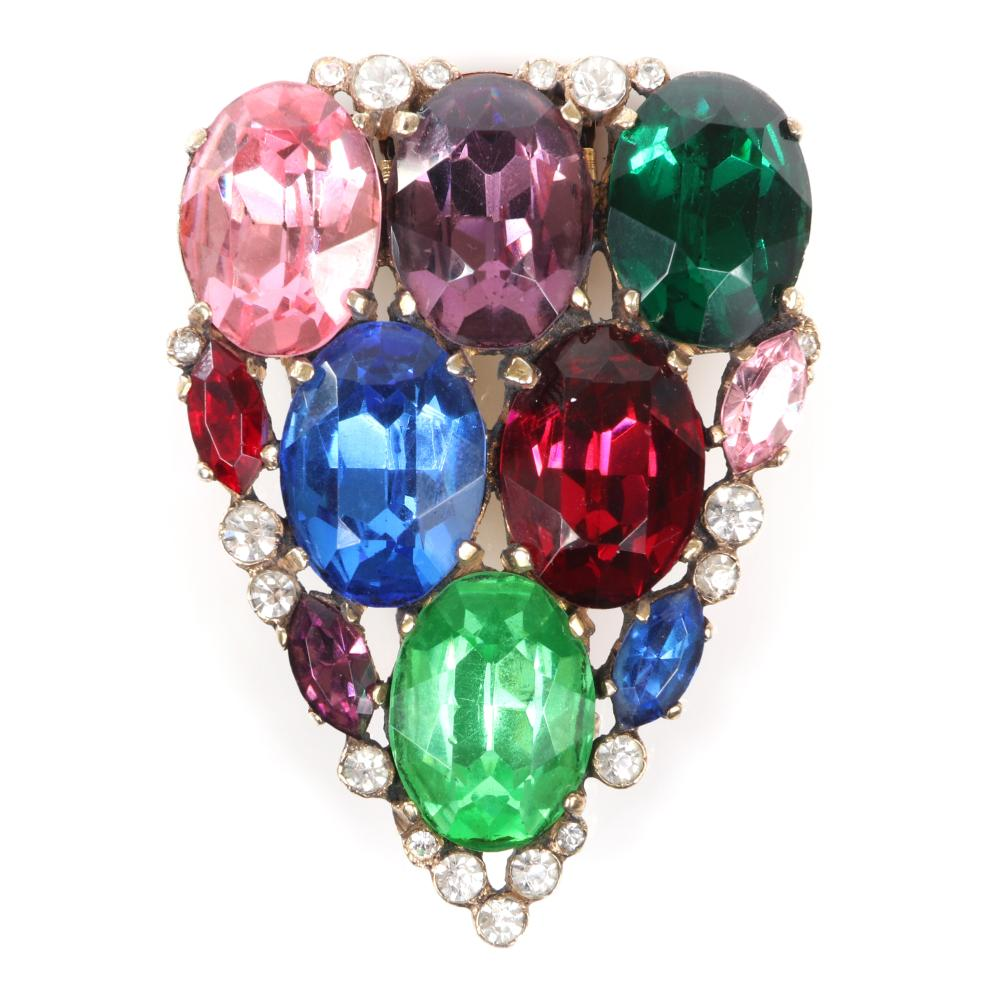 """Eisenberg Originals unsigned sterling vermeil shield fur clip with six large jewel tone 3/4"""" rhinestones surrounded by marquise and bezel-set rhinestones, with setter's mark. 2 1/4"""" x 1 3/4"""""""