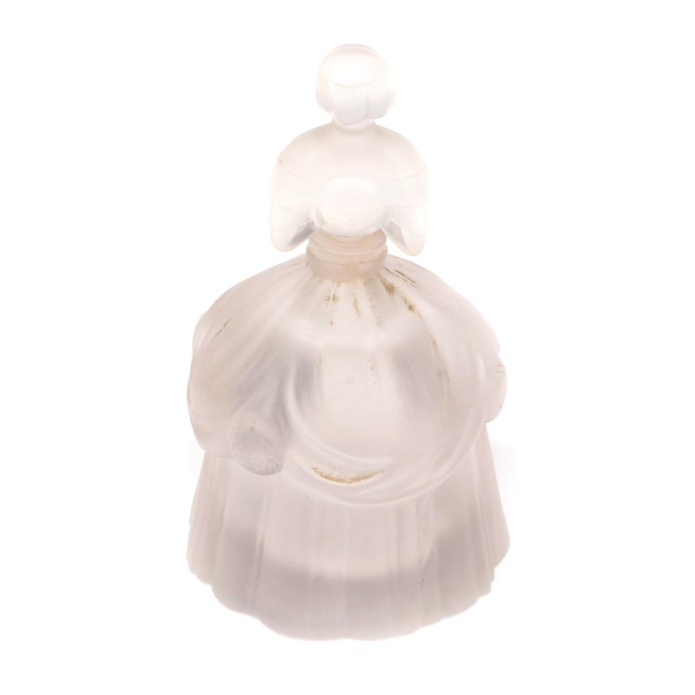 """Eisenberg Original 'Excitement' figural lady with draping dress fragrance perfume bottle in frosted glass, not marked. 3 1/2"""" x 2 1/4"""""""