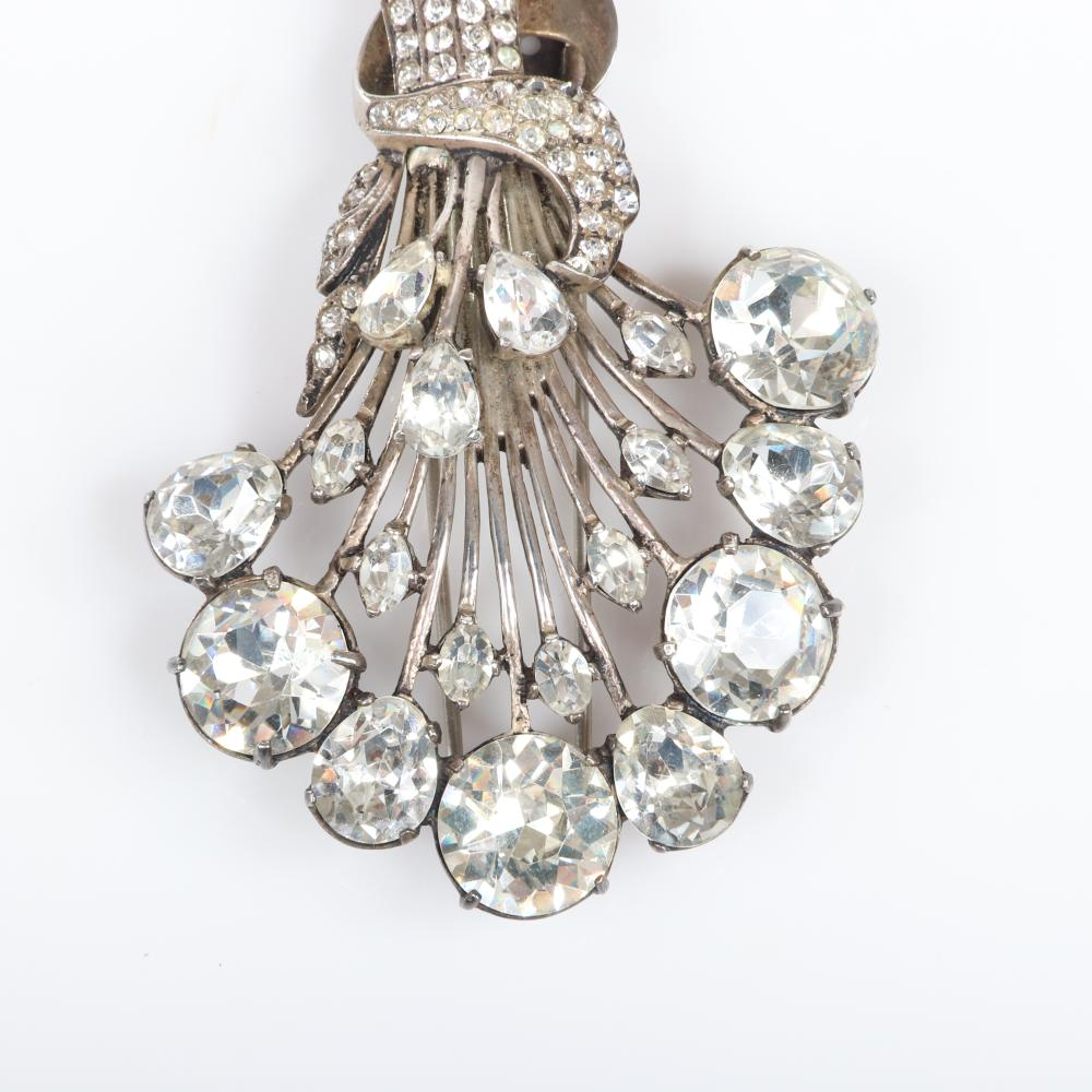 "Eisenberg Original sterling inverted stylized diamante floral bouquet fur clip with large oval rhinestone blooms, bezel-set stones, pave stems, mid-1940s. 3"" x 2 1/4"""