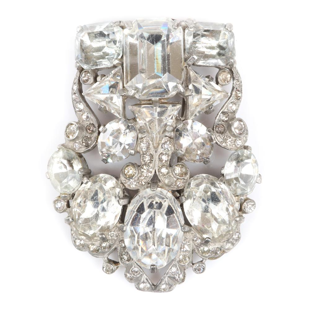 """Eisenberg Original diamante shield fur clip with huge faceted crystals and pave swirls, with setter's mark, c. 1940s. 2 1/2"""" x 2 1/4"""""""