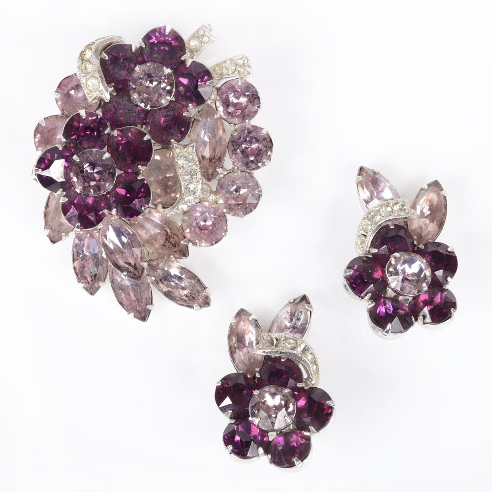 """Eisenberg violet flower layered diamante pin and earring set with crystal jewels in shades of lavender and amethyst with pave ribbons. 2""""H x 2""""W"""