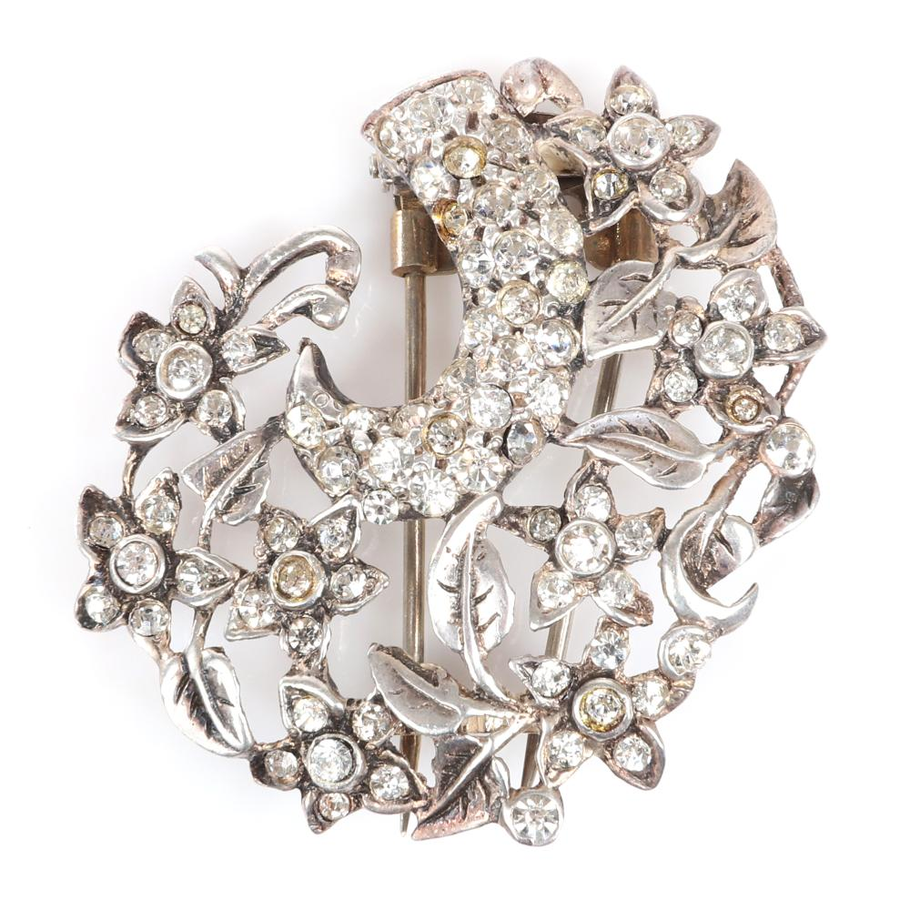 """Eisenberg Original sterling openwork leaf and flower fur clip swirl with pave, rhinestones and bezel-sets, with setter's stamp N. 1 3/4"""" x 1 3/4"""""""