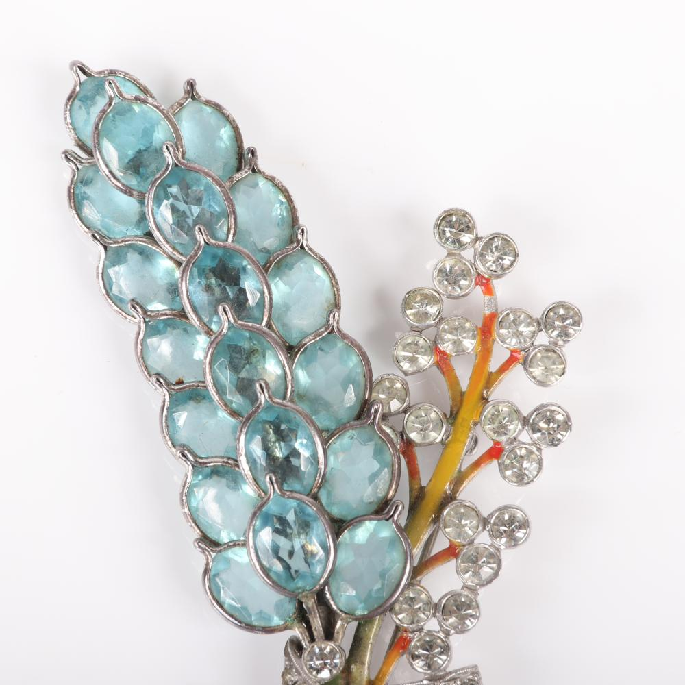 "Pennino large aqua crystal jeweled hyacinth figural flower spray pin with bezel-set jewels, pave and enamel stems. 4""H x 2""W"