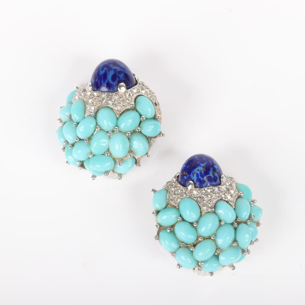 """MB Boucher jewel encrusted cabochon cluster flower pin clip brooch and earring set with turquoise color stones, a lapis center and pave accents, 1950s. 2""""H x 2""""W (clip)"""