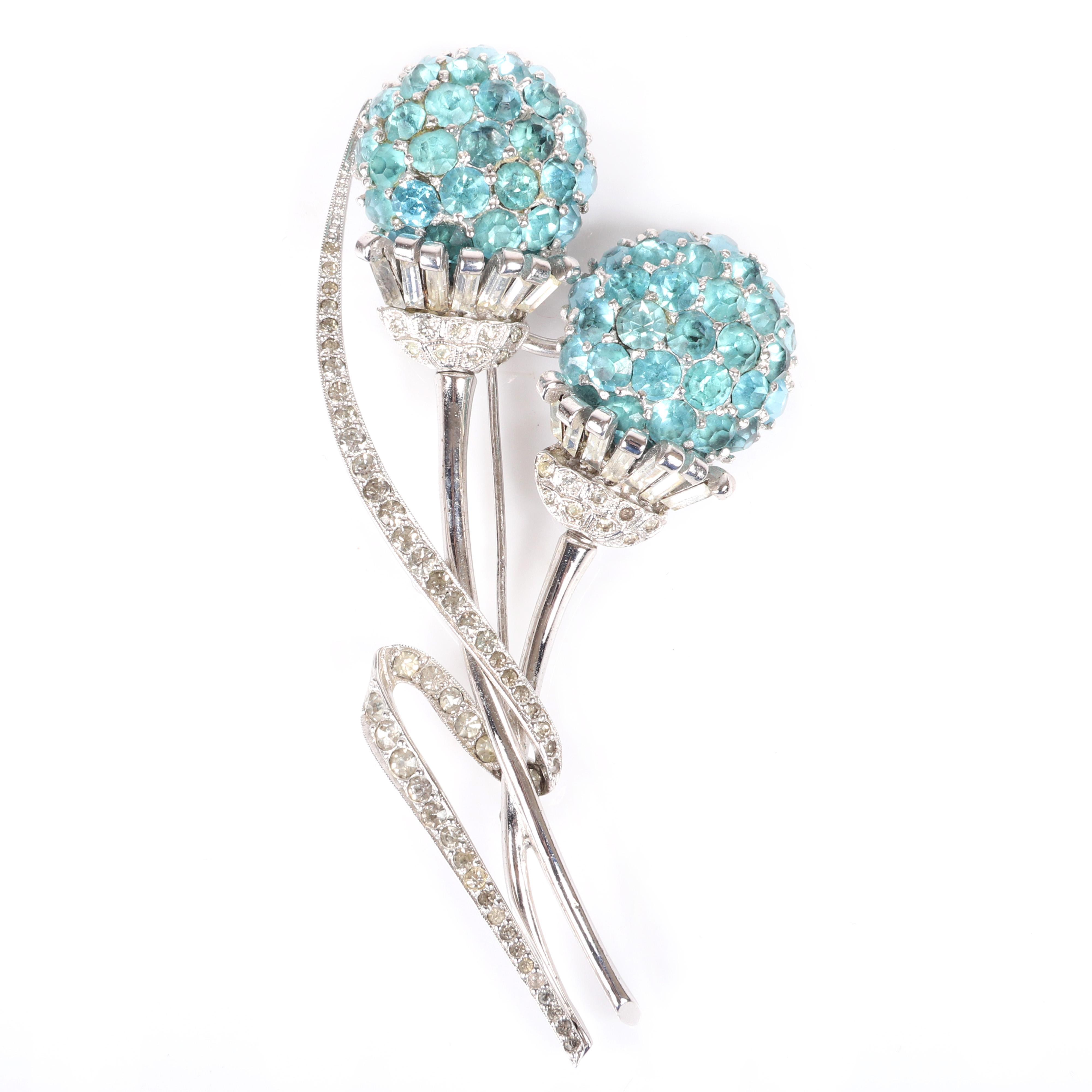 """Pennino LARGE silver tone double flower spray pin brooch with aqua jeweled domed ball flowers, baguette diamante, and pave ribbon of rhinestones. 4""""H x 2""""W"""