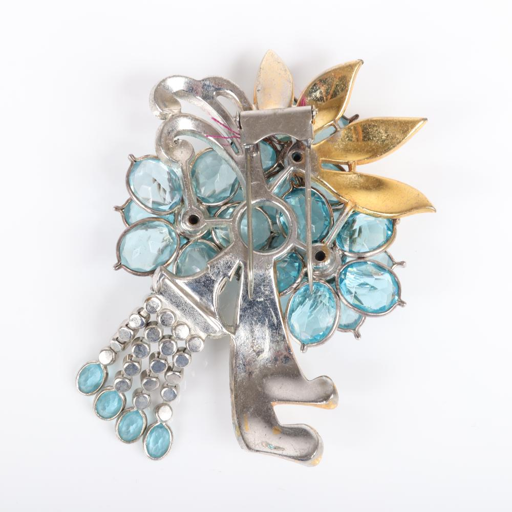 """Pennino large layered fringed flower spray pin clip with aqua crystal jewels, ruby glass cabochons, gold wash, and pave ribbons. 3 1/2""""H x 2 3/4""""W"""