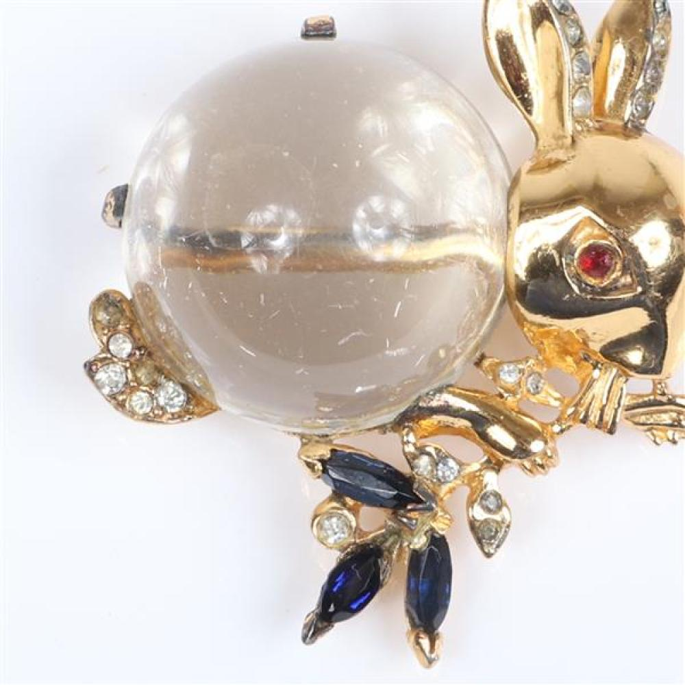 """Trifari 'Alfred Philippe' sterling vermeil jelly belly rabbit figural pin brooch with sapphire blue crystals, rhinestones, and ruby red crystal eye. 1 3/4""""H x 1 3/4""""W"""