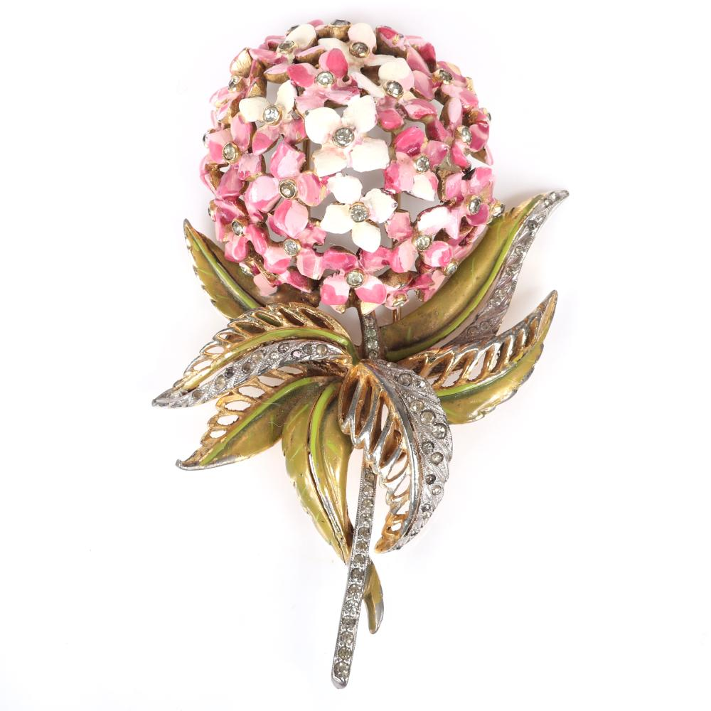 "DeRosa LARGE Hydrangea figural flower pin clip with pink enameled domed flower, metallic enamel leaves, gold wash and rhinestones. 3 1/2""H x 2 1/2""W"