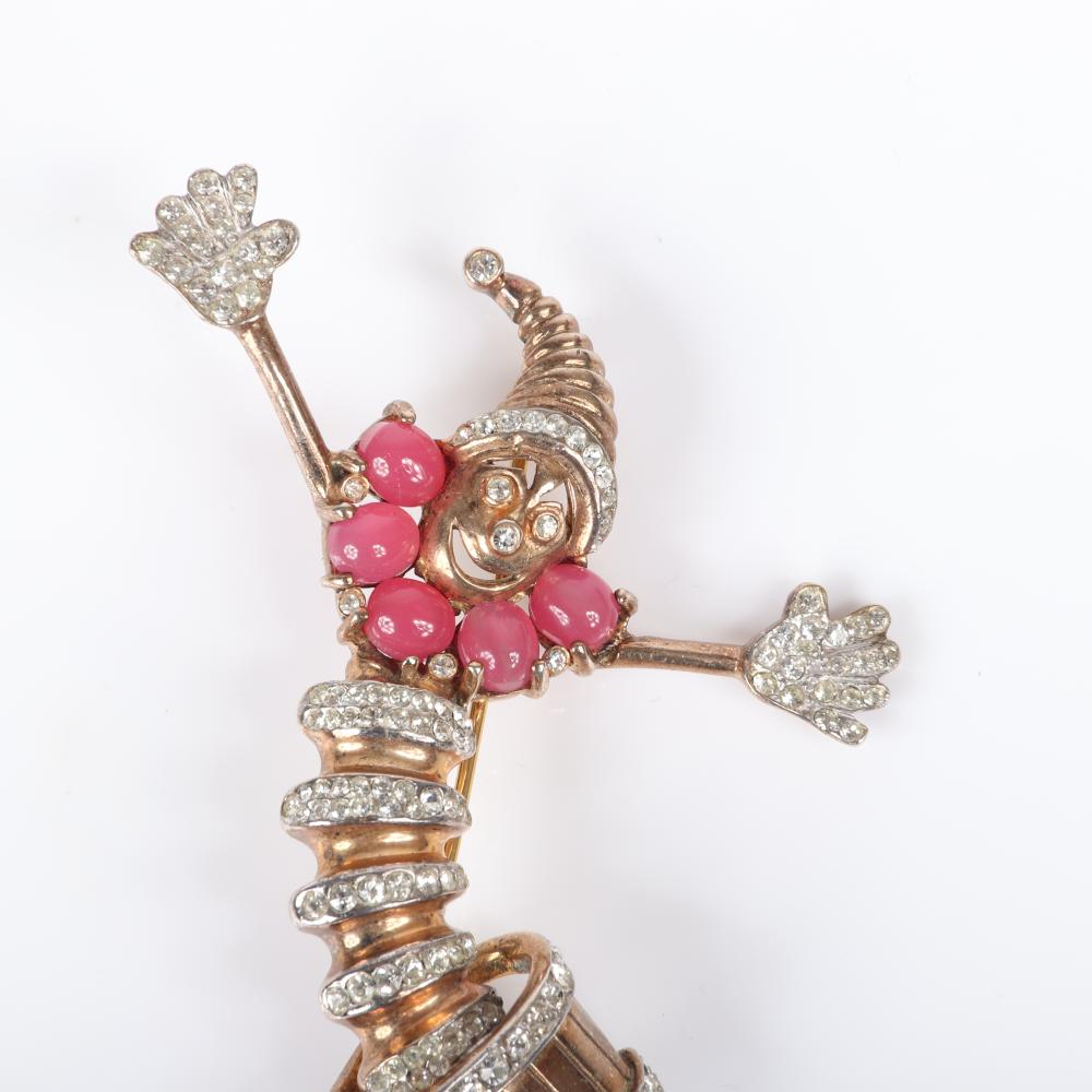 """Reja sterling vermeil figural jack in the box clown pin brooch with pave rhinestones and pink cabochon jewel collar. 3""""H x 2 1/4""""W"""