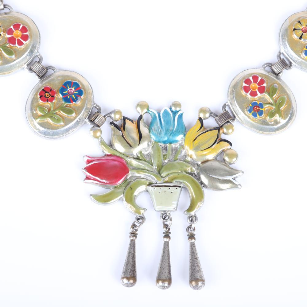 """Vintage unsigned Coro? 1940s silver tone station necklace with linked oval hand painted flower panels and large flower basket pendant with teardrop dangles. 16""""L (necklace)"""