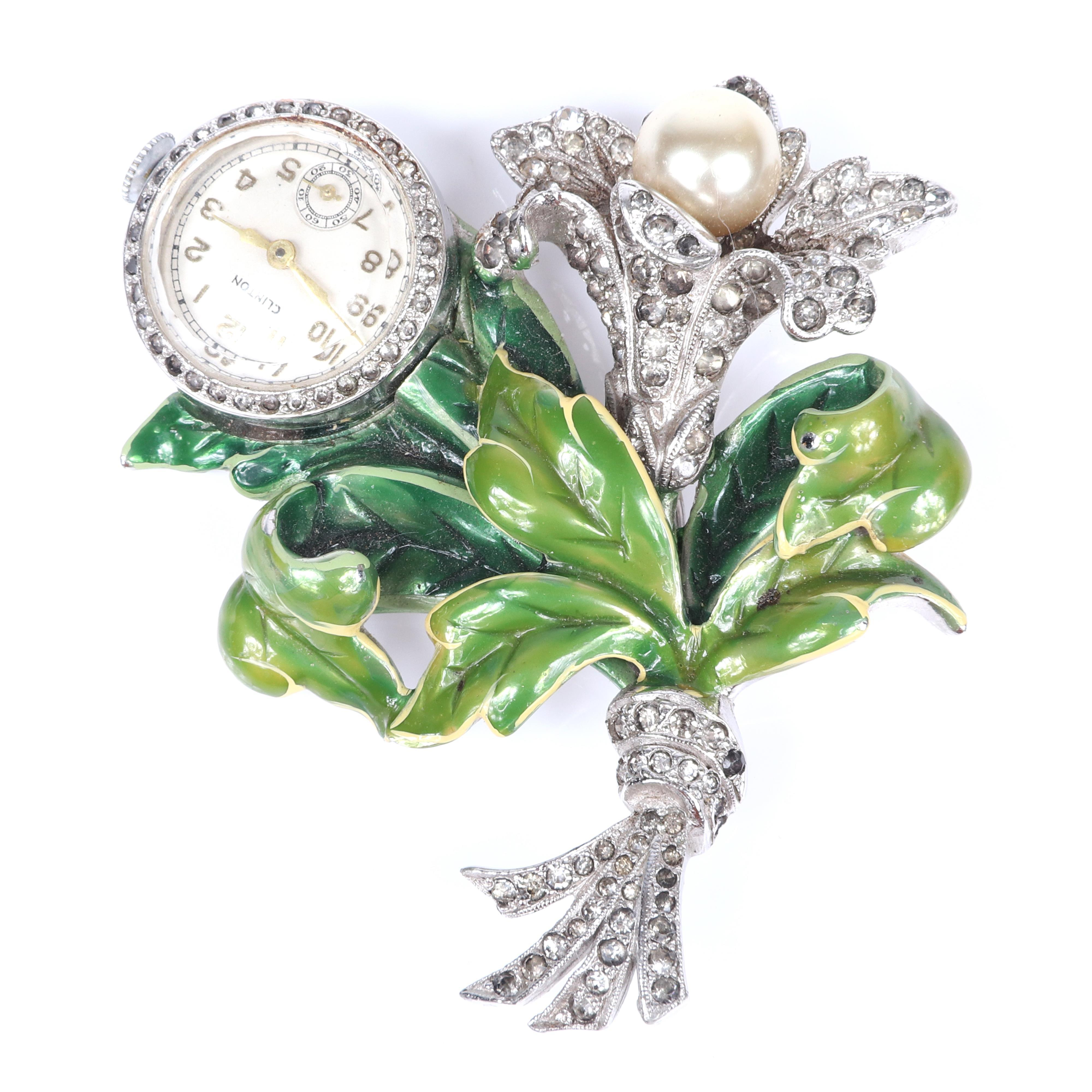 Vintage 1940s Clinton figural flower bouquet lapel watch pin brooch with green enamel leaves, pave and faux pearl. 100-150