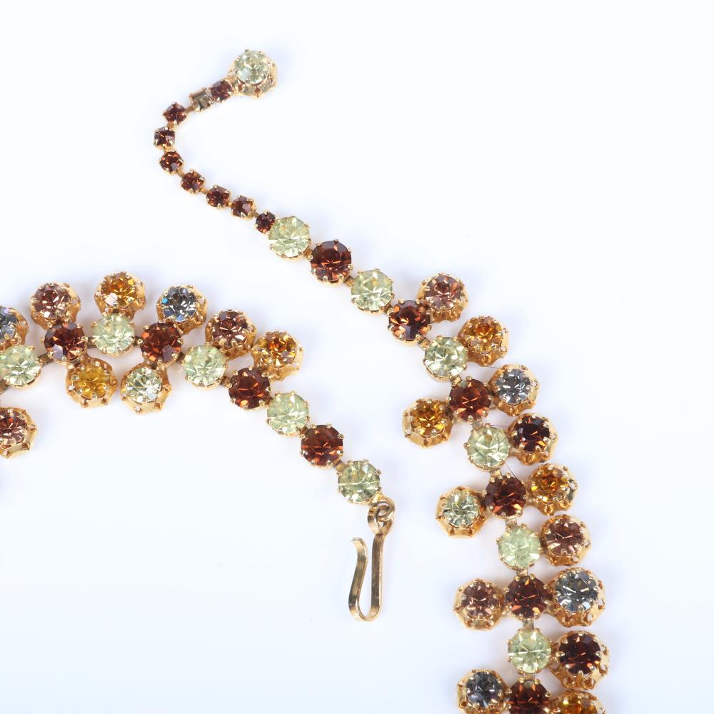 "Schreiner? unsigned diamante dimensional rhinestone collar necklace with large citrine, topaz, smokey and clear stones in gold tone filigree mounts. 15""L, 1 1/4""drop"