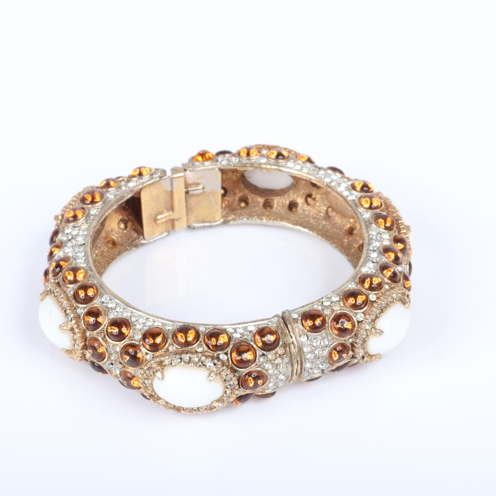 """Kenneth Jane Lane KJL necklace with pale coral domeded cabochons & rhinestone details and diamante clamper cuff with with white cabochons, pave andamber crystals. 28""""L (necklace), 5""""H (pendant), 2 1/8"""" inner diam (cuff)"""