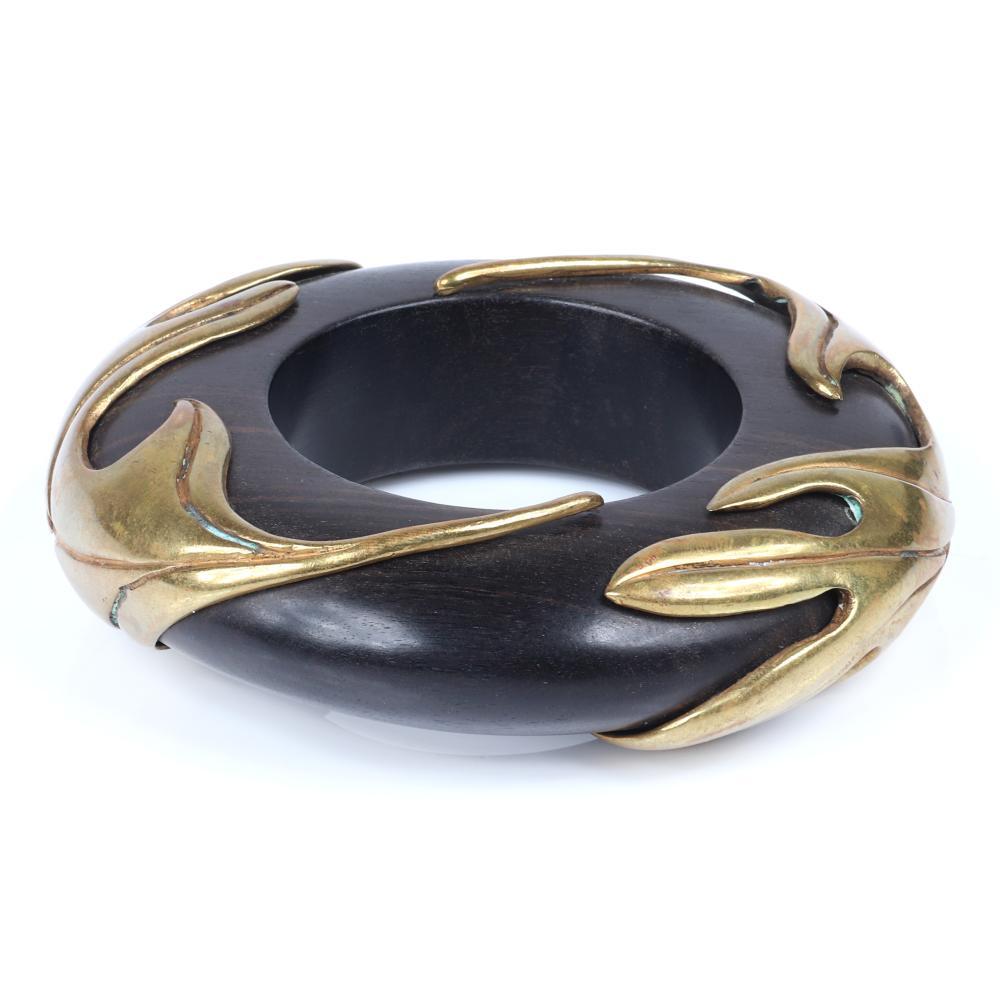 "Isabel Canovas vintage large wood bangle bracelet with vining leaves of gold tone metal. 2 1/2"" inner diam, 1 1/4""W"