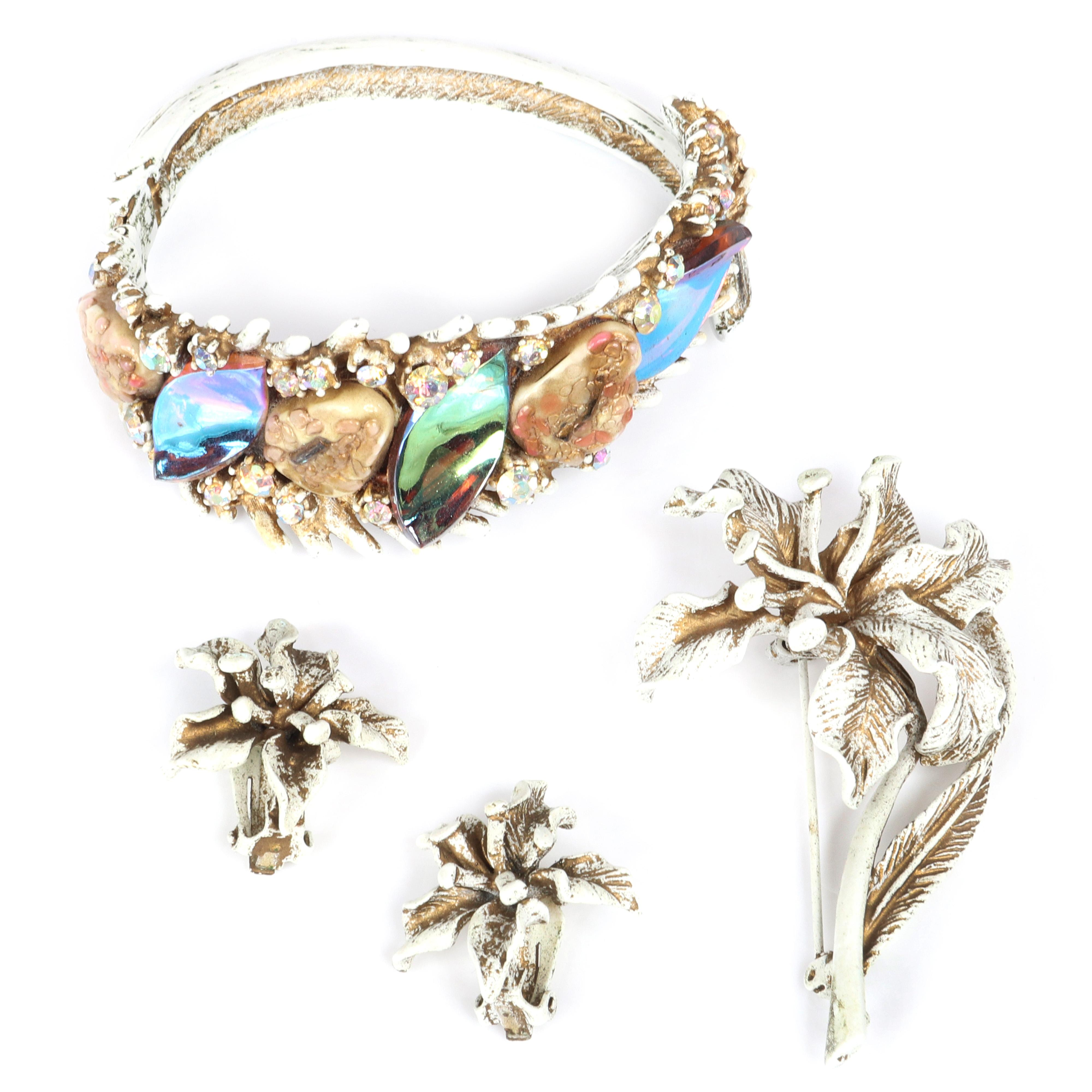 "HAR white enamel jewelry: 'Dragon Tooth' fantasy clamper cuff bracelet with large aurora borealis stone nuggets and rhinestones with orchid figural flower brooch and matching earrings. 2 1/4"" inner width, 2""W (bracelet)"