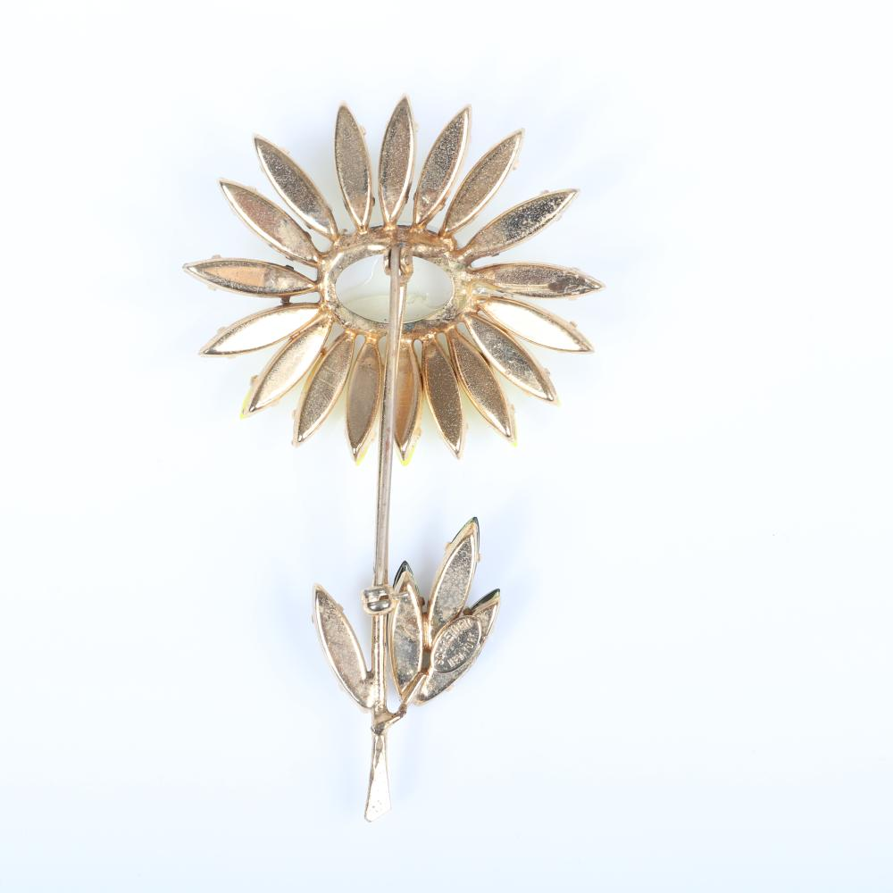 """Schreiner New York dimensional daisy pin brooch with moonstone cabochon, yellow navette petals and chartreuse crystal jewel leaves. 3""""H x 2""""W"""