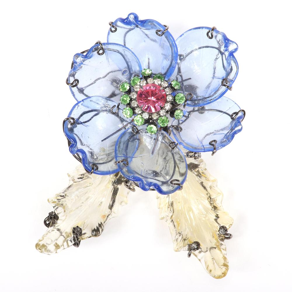 """Lawrence VRBA vintage couture designer GIANT layered flower pin brooch with blue and pale yellow poured glass petals and leaves with crystal and rhinestone jewel cluster center. 5 1/4""""H x 4 1/4""""W"""