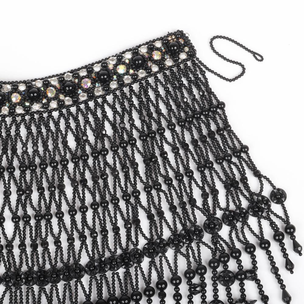 """Vintage showgirl runway beaded fringe collar bib necklace with woven black glass and acrylic beads and aurora borealis and colorless rhinestones around the collar. 16""""L, 18""""drop"""