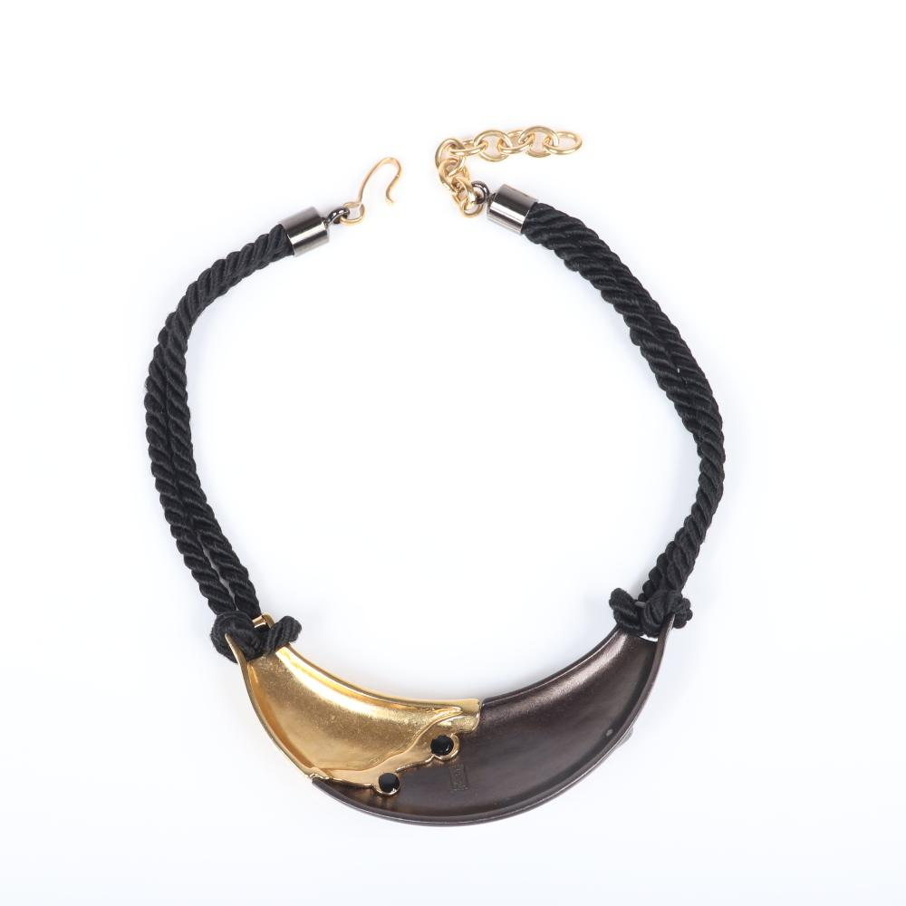 """Yves Saint Laurent, YSL designer couture choker necklace with mixed metal two tone collar pendant with ruby glass jewels and black double cord necklace. 18""""L, 1 1/4""""W"""