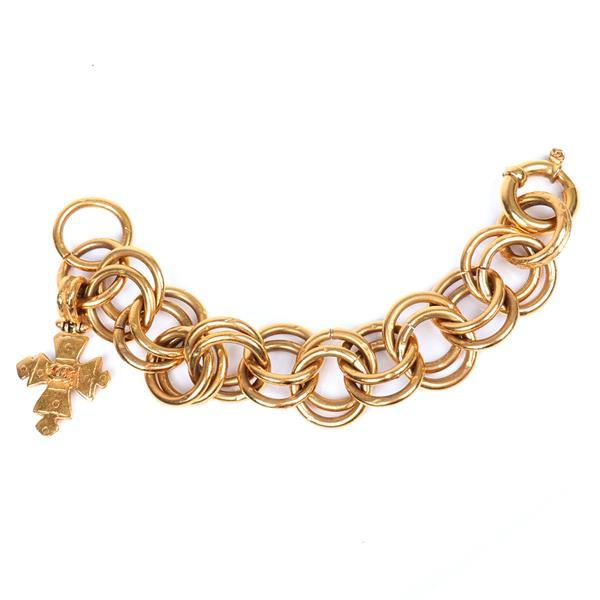 """Vintage Chanel gold tone double link designer couture bracelet with embossed dangling Maltese cross charm with the Chanel logo in black Chanel box. 9""""L"""