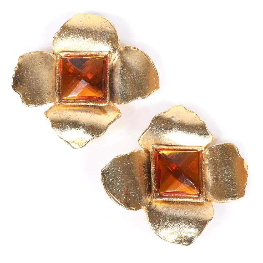 """YSL Yves Saint Laurent Rive Gauche Made in Paris large earrings with four gold tone petals and amber faceted square crystal central stone. 2 1/4""""H x 2 1/4""""W (one)"""