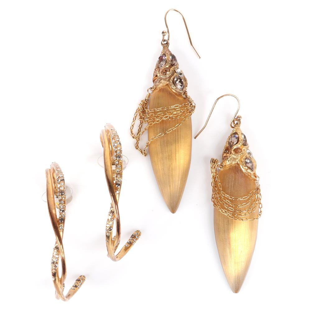 """Alexis Bittar two pairs designer couture gold tone earrings: textured gold lucite """"sabre"""" with gold tone chain and pave caps and double hoops studded with rhinestones. 3""""H (largest)"""