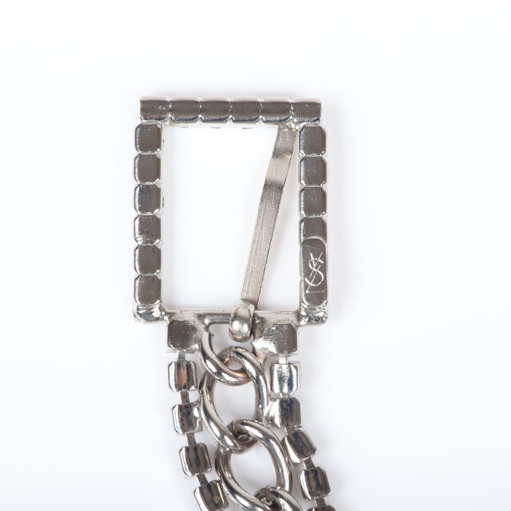 "Yves Saint Laurent YSL vintage designer couture silver tone adjustable chain and glittery rhinestone diamante fashion buckle belt. adjustable to 33""L"